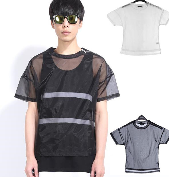 Transparent T Shirt Sexy Black Mens Solid Color T Shirts
