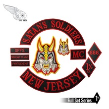 SATANS SOLDIERS NEW JERSEY motorcycle embroidery iron on custom patch 38cm large garment applique