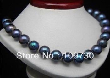 """Jewelry 001487 real natural AAA 11-12 mm BLACK PEARL NECKLACE 18 """"14 k"""