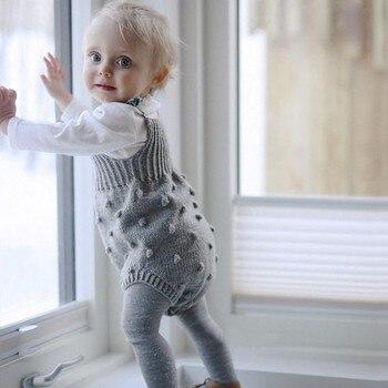 Conjunto de mameluco para bebé, Mono para bebé, sin mangas, ropa para bebés, ropa tejida de otoño para niñas, ropa informal para bebés