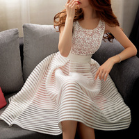 Authentic 2018 Brand Vestido De Fiesta Plus Size Casual Embroidery Sleeveless Ball Gown Lace Party Dresses Women Wholesale