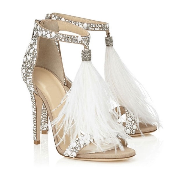 Genuine Leather sandalia feminina sandals women Plus Size high heels sandals women Rhinestone Feather Party Dress Shoes Women