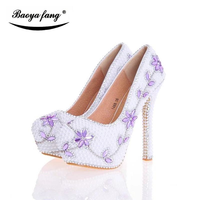 White pearl Violet crystal Wedding shoes Bride high heels platform shoes Pigskin leather insole female shoes big size 34-43 baoyafang new arrival white pearl tessal womens wedding shoes high heels platform shoes real leather insole high pumps female
