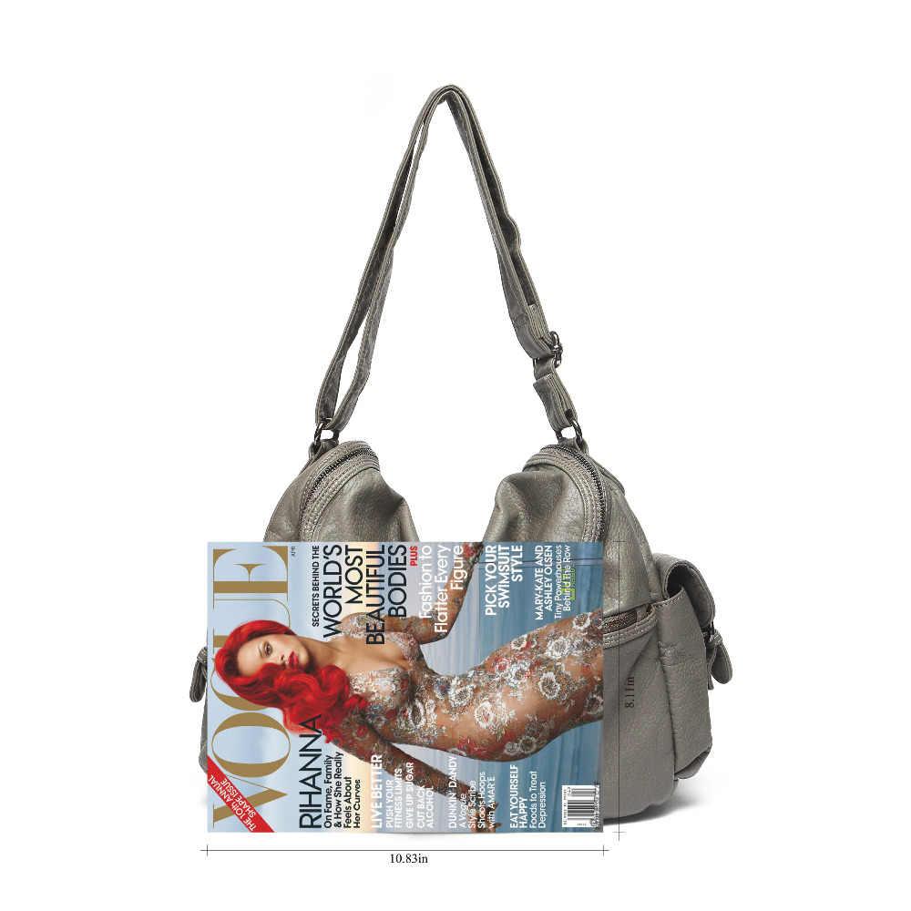 Женские серые сумки Хобо легкая сумка на плечо для женщин мытый кожаный кошелек через плечо женская сумка путешественника сумка ручные сумки