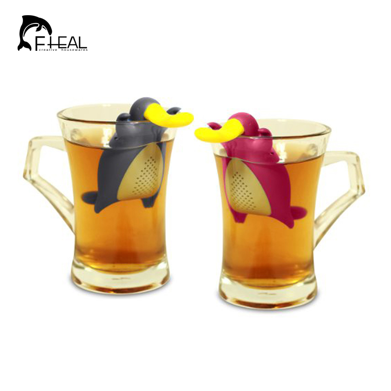 Fheal platypus shape infuser teapot cute silicone tea strainer bag kitchen accessories coffee - Tea pots with infuser ...