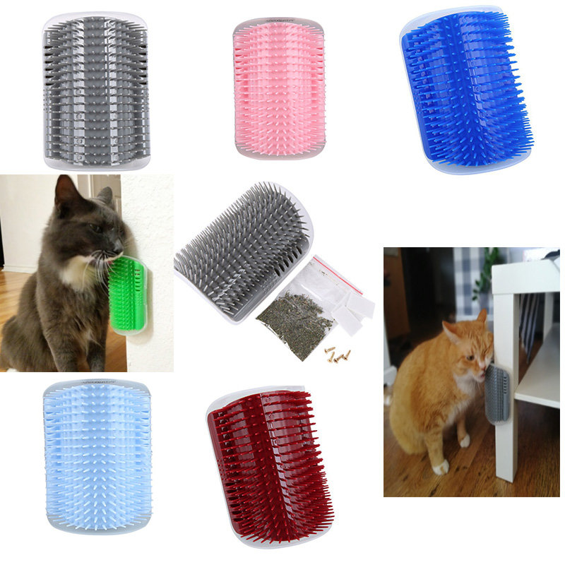 Pet Products Cats Brush Corner Cat Massage Groomer Comb With Catnip Ship