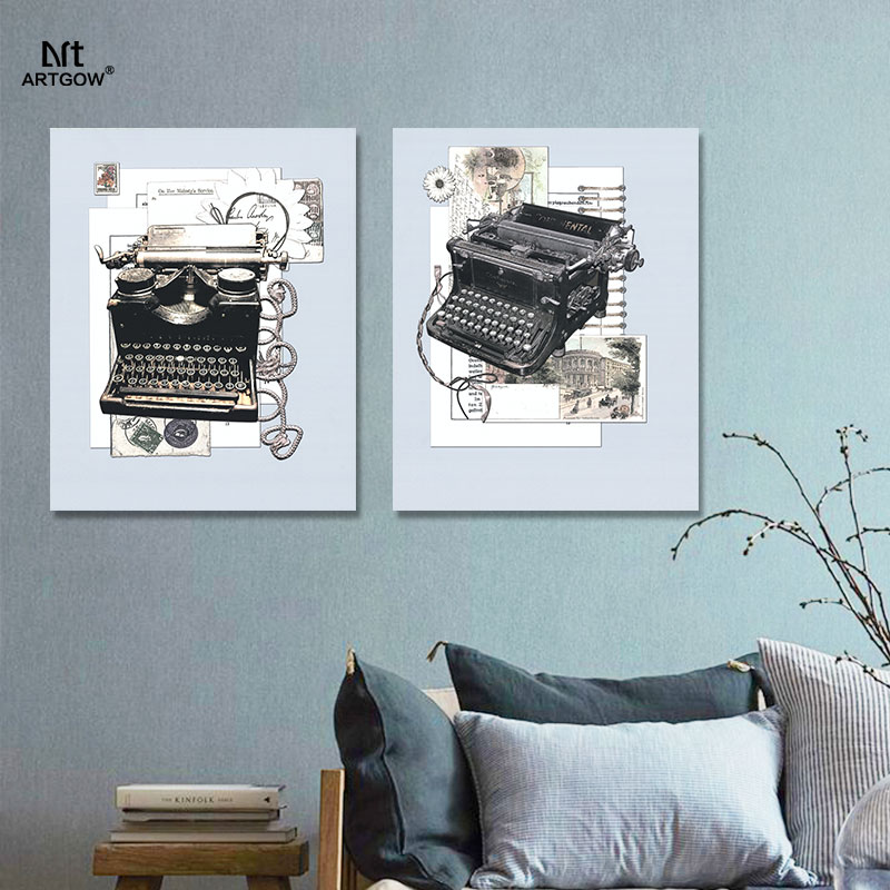 US $18 0 |Retro Fashion typewriter still life pictures decoration post card  Canvas Painting wall Art newspaper living room decor unframed-in Painting