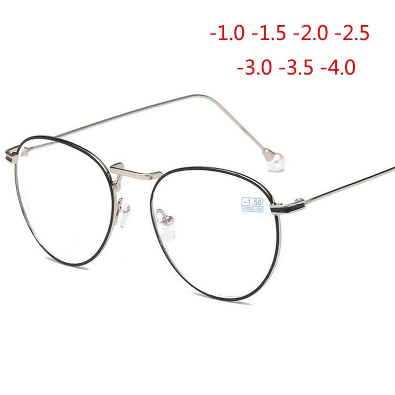-1,0-1,5-2,0-2,5-3,0-3,5 Zu-6,0 Brillen Für Frauen Mode Runde Rahmen Fertig Myopie Brillen Damen Blut NäHren Und Geist Einstellen