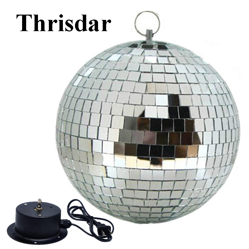 Thrisdar D15CM 20CM 25CM Reflective Glass Rotating Mirror Ball With AC Motor Pinspot Disco DJ Stage Light KTV Bar Party Light colorfull light mirror reflection glass ball stage festival hanging ball motor 10inch 19cm