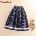 Spring Summer Autumn Vintage Fashion Polka Dot Printed Pleated Skirt Midi Women Mid-Calf Length High Waist Ladies Tutu Skirts
