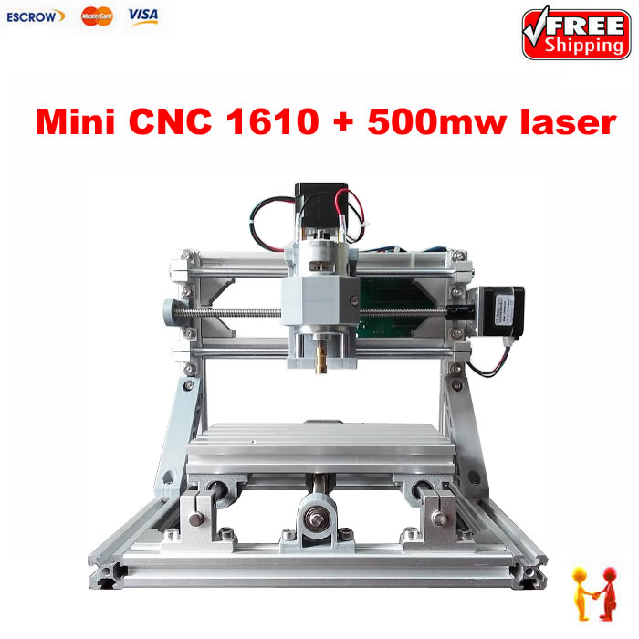 1610 DIY mini CNC router 500mw laser engraving machine GRBL control for Pcb Milling Machine Wood Carving mini engraving machine diy cnc 3040 3axis wood router pcb drilling and milling machine