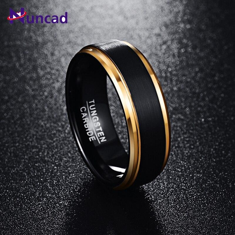 2019 matte polish gold beveled polish 8mm width 100% genuine black wedding band elegance tungsten carbide rings for men(China)