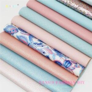 12 stücke-20x22 cm Hohe Qualität candy ROSA UND BLAU farbe mischen PU leder set/synthetische leder set/DIY stoff künstliche leder