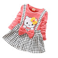 Children's cartoon kitty baby girls dress plaid dress strap dress casual fashion clothing for girls baby clothes free shipping
