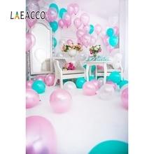 Laeacco Baby Birthday Party Balloons Mirror Celebration Interior Scene Photographic Background Photography Studio Photo Backdrop