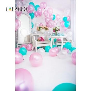 Laeacco Baby Birthday Party Balloons Mirror Celebration Photography Background Interior Scene Photographic Photo Studio Backdrop laeacco unicorn words baby children comic celebration party scene photographic backgrounds photography backdrop for photo studio