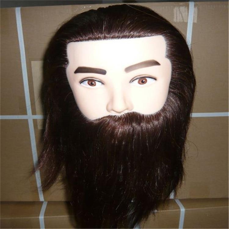 Cheveux d'animaux marron foncé de 10 pouces mélangés à des cheveux de fibre à haute température mannequin de tête d'hommes avec tête de Mannequin de barbes