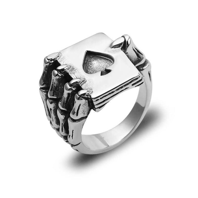 Винтажные дизайнерские кольца для мужчин в виде игральных карт, кольца в готическом стиле с черепом, ручным захватом, покерное кольцо антич...
