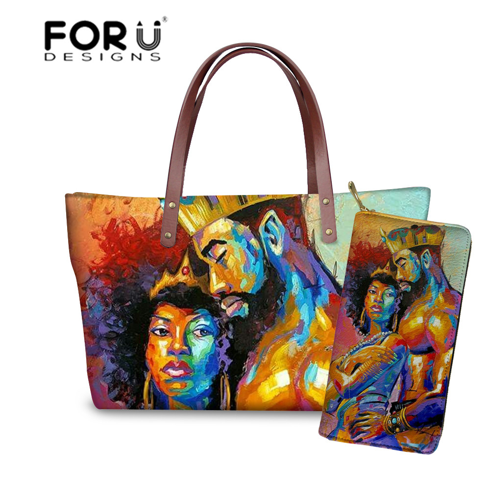 FORUDESIGNS 2pcs Women Handbags Sets Black Queen African Girls Printing Large Shoulder Tote Bags Ladies Hand Bag&Purse Feminine