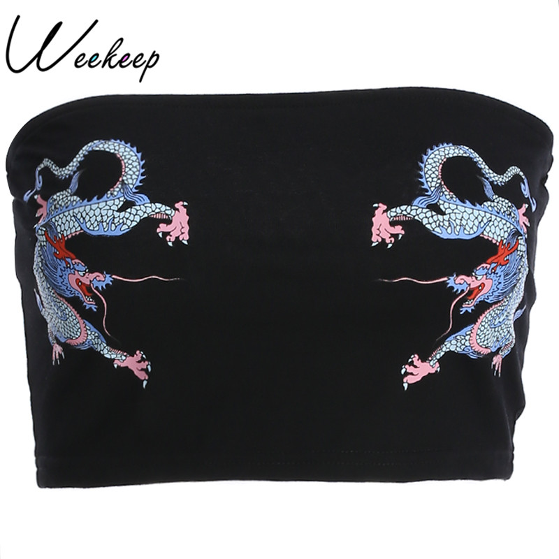 Weekeep Sexy font b Slim b font Waist Tube Tops Women Black Chinese Style Dragon Print