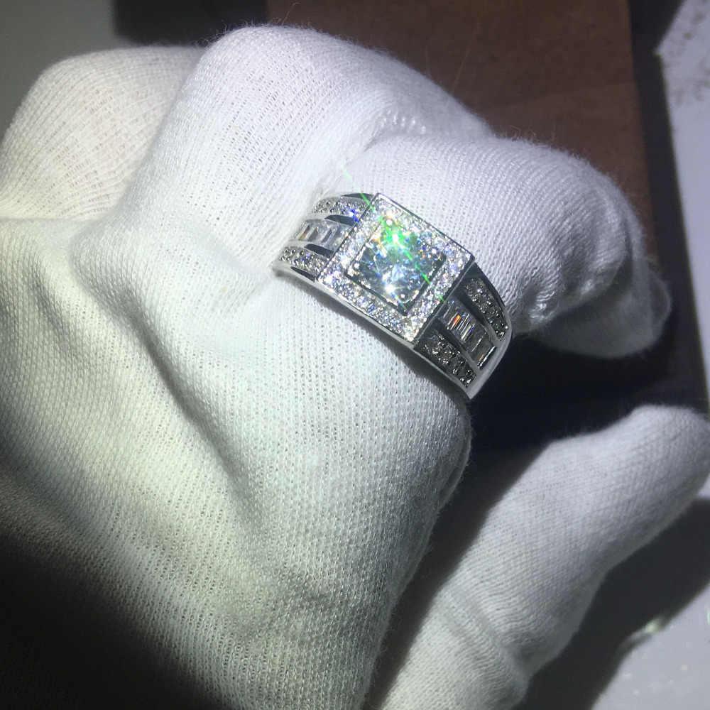 100% Настоящее Soild стерлингового серебра 925 модное мужское кольцо Круглый 1ct AAAAA Cz кольцо с камнем рождения обручальное кольцо для мужчин