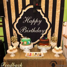 Allenjoy bright photography birthday celebration backdrop black gold happy costmize name and date photographic studio photocall