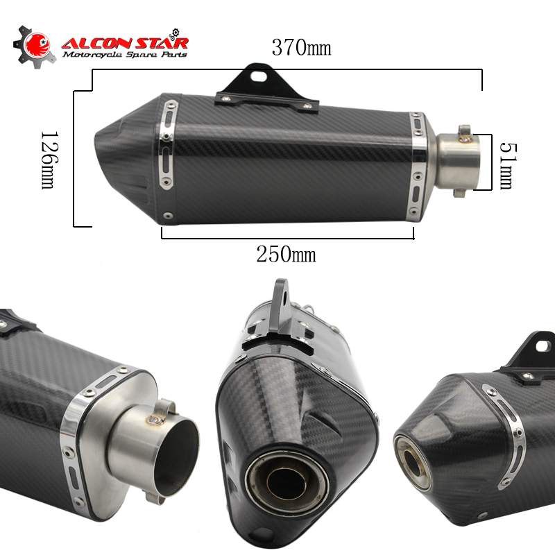 Alconstar- 51mm Motorcycle Exhaust Modified Scooter Exhaust Muffler with DB killer GY6 Case for YAMAHA YZF R1 MT07 MT09 TMAX530