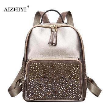 fdbab6471b32 Для женщин блестящие рюкзак со стразами женский кожаный рюкзак повседневное  школьная сумка для девочки подростка путешествия Mochila Feminina