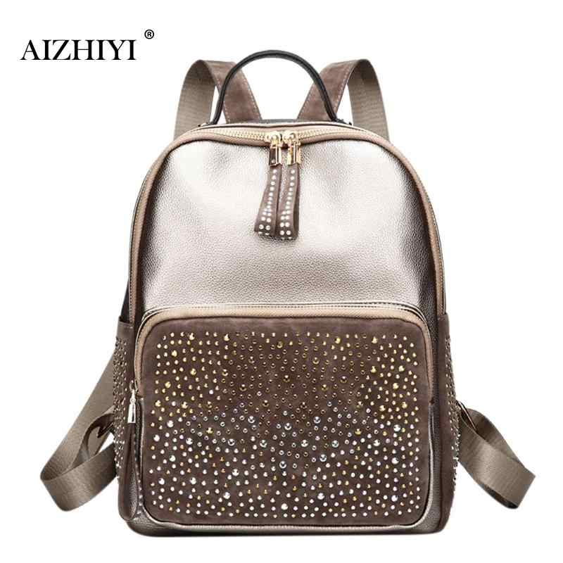 7b0ad0818068 Женский кожаный рюкзак со стразами, повседневная школьная сумка для девочек- подростков, квадратный рюкзак