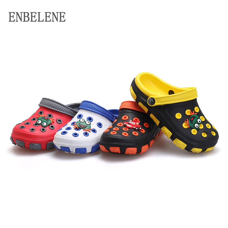 Summer Little Boys Girls Mules And Clogs Garden Shoes Hollow Children Slipper Cartoon Slaps PU Shower Kids Beach Sandals FE351