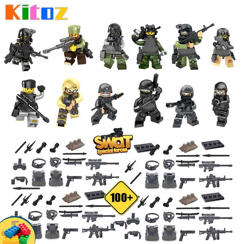 US $2 24 25% OFF|Kitoz 12pcs SWAT The Wraith Assault Armas Ghost Commando  Action Figures 100+ Army weapon Building Block Toy Compatible with lego-in