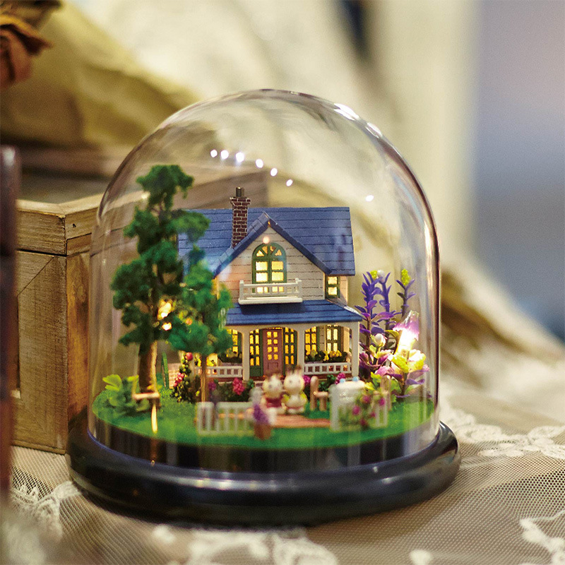 DIY 3D Doll House Furniture Wooden Miniaturas Miniature Dust Cover Dollhouse Toys for children Gifts Travel Round The World image