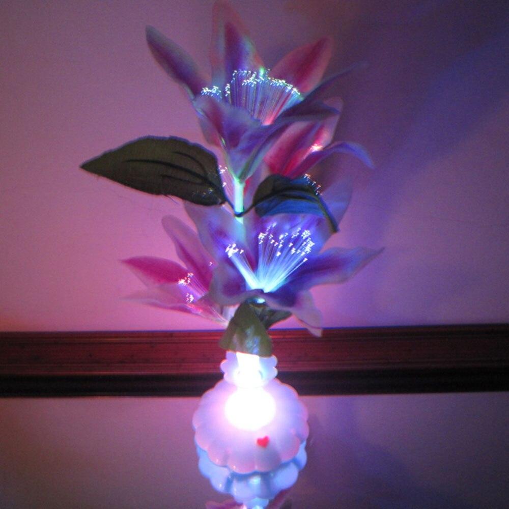Commercial Lighting Optic Fiber Lights Honesty Led Optical Fiber Lamp Flower Rose Vase Blossom Night Light Decoration