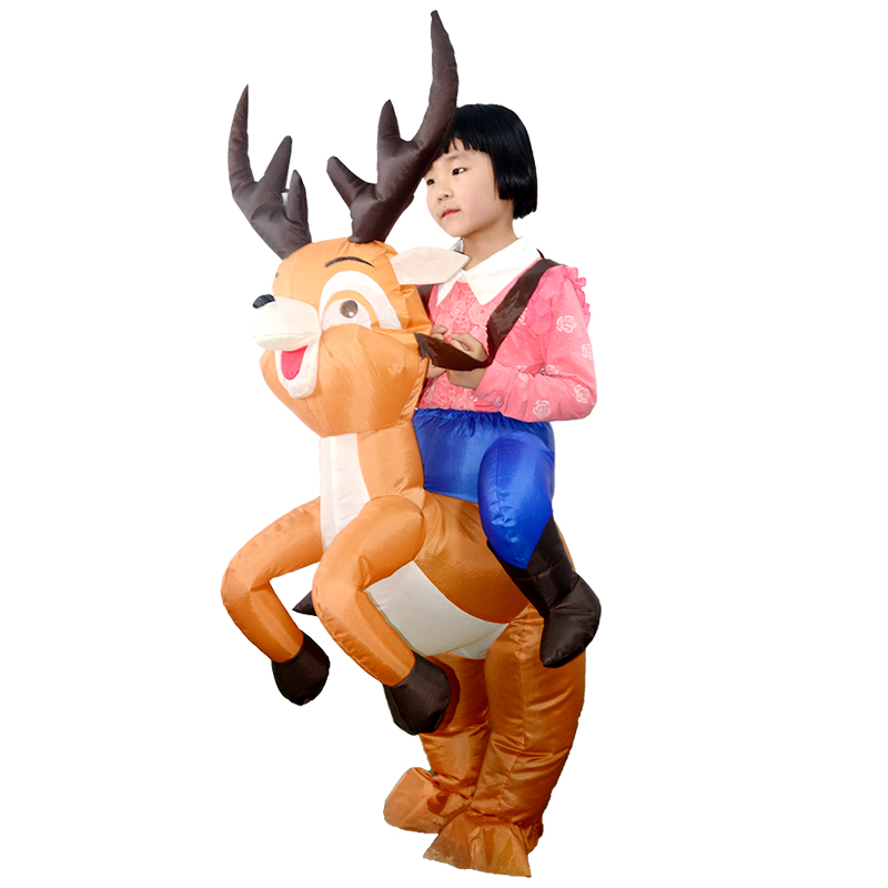 Children Christmas Halloween Party Carnival Cosplay Suits Inflatable Elk Deer Costume Blow Funny Dress Mascot Costume X mas Gift