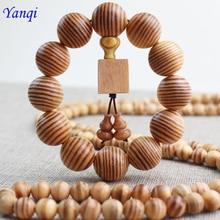 Pine Tibetan Buddhist Mala Buddha Charm 6MM 8MM 10MM 108 Bracelet Yoga Rosary Prayer Beads Bracelet  Wooden For Men Jewelry