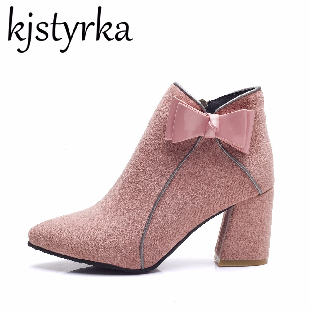 Kjstyrka 2018 Autumn woman boots with heels Zipper sexy Pink Bow Pointed Suede square toe thick high heel ankle boots for women egonery quality pointed toe ankle thick high heels womens boots spring autumn suede nubuck zipper ladies shoes plus size