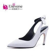 Leisure Genuine Leather Cowhide Thin Heel Slingbacks Pumps Universe Women Black White 9.5cm/3.74 High Heels Party Shoes H129