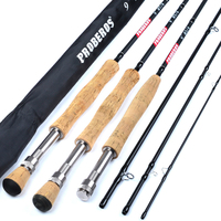 9ft Carbon Fiber Fly Fishing Rod 2.7M Telescoping 4 Sections Lure Hard Fishing Pole Rod Line Wt 3/4 5/6 7/8 Fish Tackle