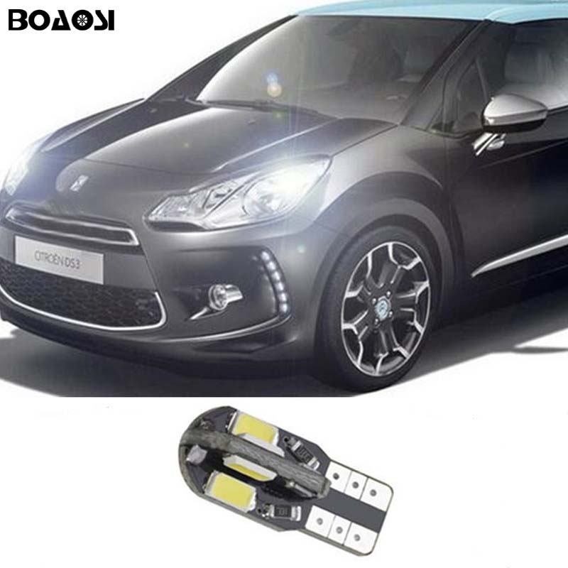 BOAOSI 1x Car LED T10 Canbus W5W No error Wedge Light For Citroen C4 C5 C3 Grand Picasso Berlingo Xsara Saxo C1 C2 ds3 deechooll 2pcs wedge light for mazda 2 3 5 6 mx5 rx8 cx7 626 gf gg ge gw canbus t10 57smd 6w led clearance xenon lighting bulbs