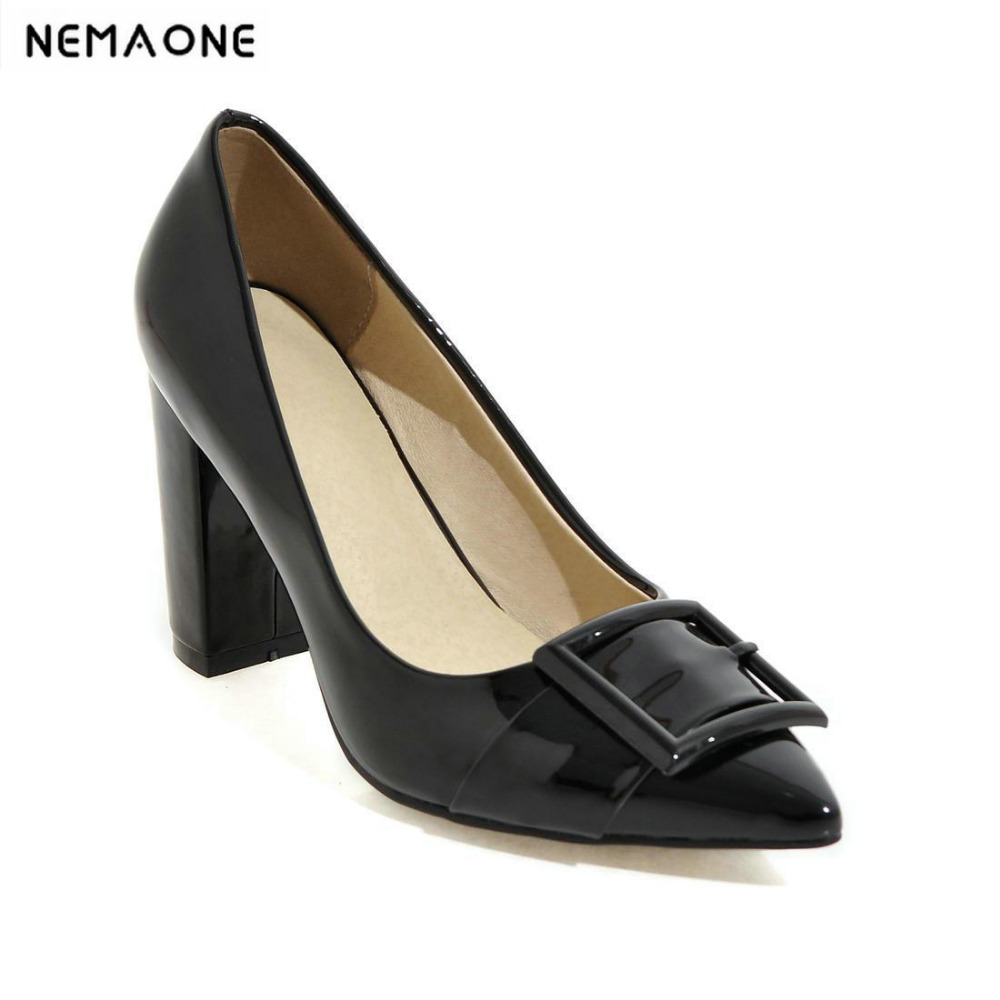 2018 New Women Pumps shoes Square Heel Pointed Toe High-heeled Women Shoes Fashion Party Wedding Shoes