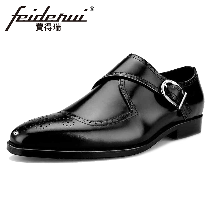 Vintage Genuine Leather Men's Monk Strap Footwear Round Toe Handmade Male Brogue Flats Formal Dress Bridal Shoes For Man BQL24 luxury snake pattern patent leather men s monk strap formal dress footwear round toe handmade male casual shoes for man ymx411