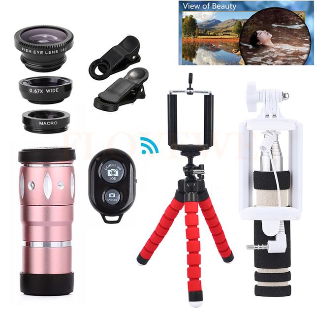 All in 1 Camera lens Kit Universal Clips Telescope 10X Zoom Telephoto Lentes Fish eye Wide Angle Macro Lenses For iPhone Xiaomi