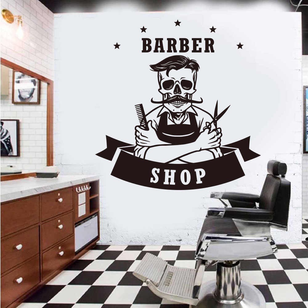 Large Hairdresser Skeleton Barber Shop Wall Sticker Barber Barbershop Hair Skull Wall Decal Vinyl Home Decor Wall Stickers Aliexpress