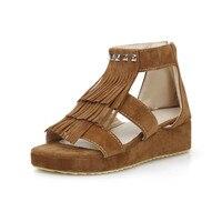 Free Shipping 2017 New National Rome Style Women Sandals Bohemia Flats Zipper Shoes Fringe Rivets Summer