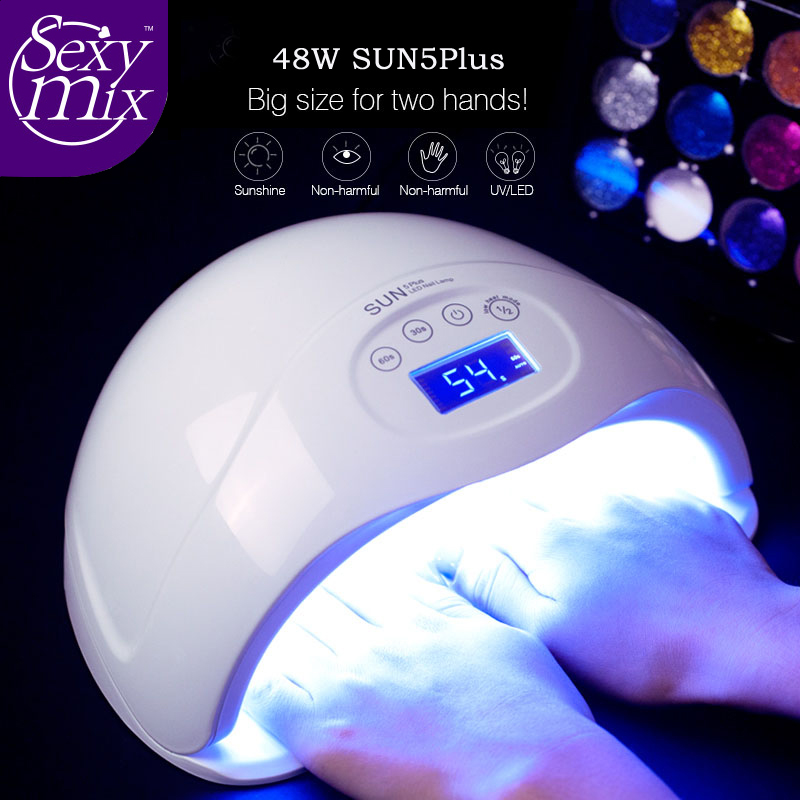 Sexymix  SUN5 plus 48W Dual UV Led Lamp Nail Dryer For All Types Gel 24Leds UV Lamp Nail Machine 30s/60s/99s Timer LCD Display