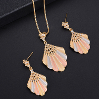 missvikki Hot African Female Costume Jewelry Set Shell Shape Pendant Earrings Necklace for Women Cubic Zirconia High Quality