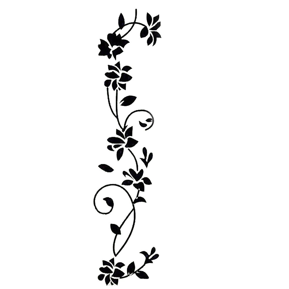 60*37cm black classic flower vine wall stickers/generation Europe, carved vines to map custom ...
