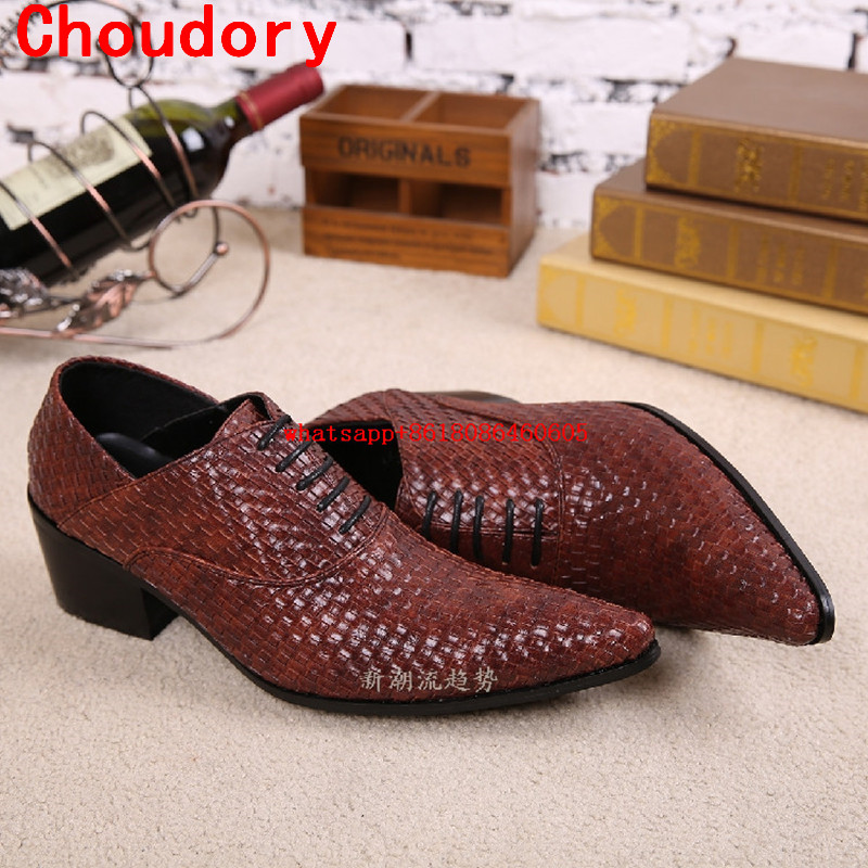 все цены на Choudory Mens shoes high heels genuine leather red black pointed toe dress shoes knit loafers wedding formal shoes men size13 онлайн