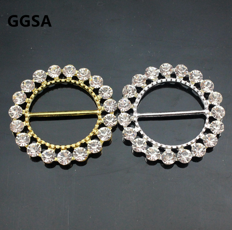 50mm Round Gold Diamante Buckle Ring Clasp Dresses Bags Chair Sashes Craft