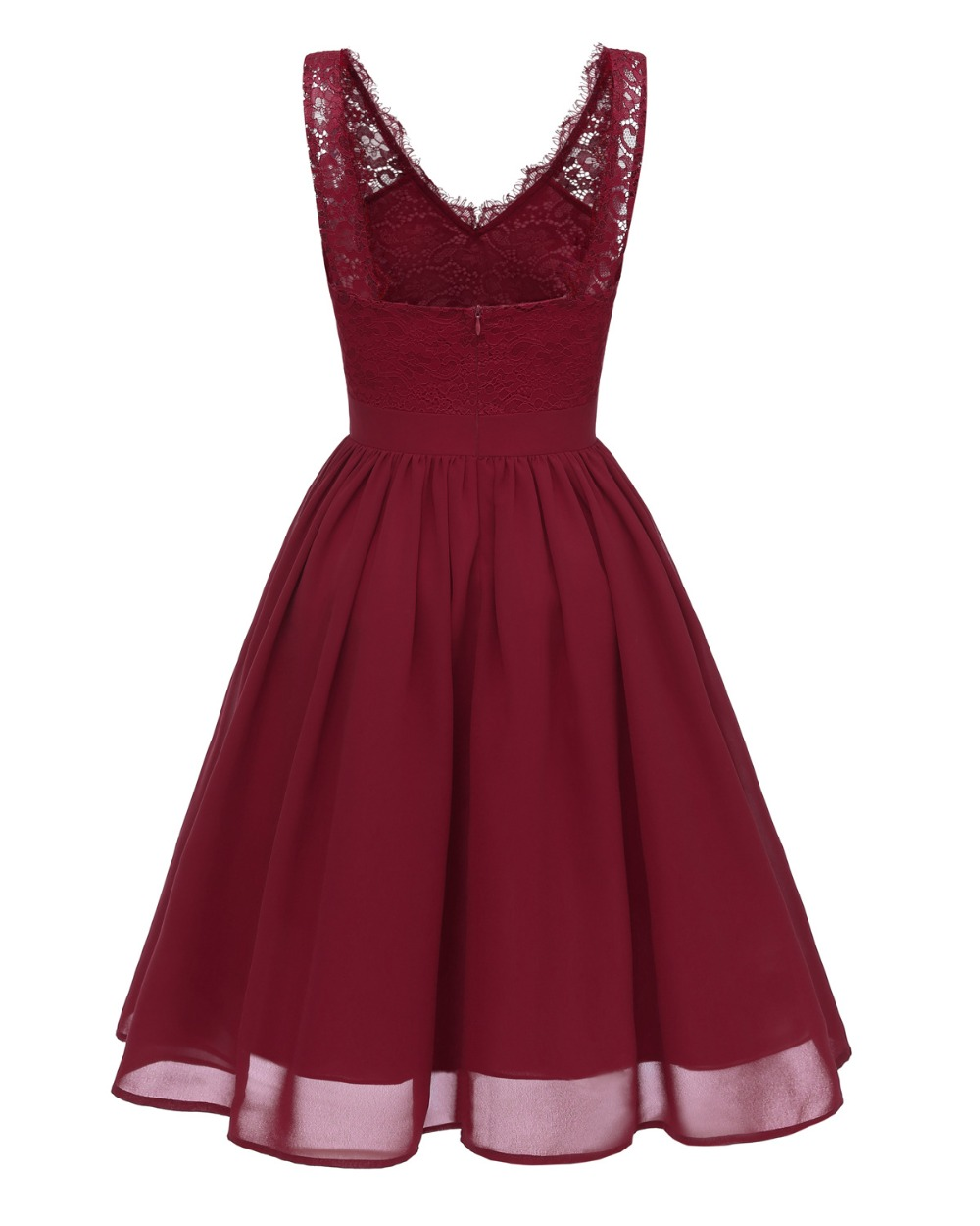 Women Sexy V Neck Floral Lace Chiffon Dresses Summer Backless Pink Burgundy Black Dress Rockabilly Vintage Party Dress in Dresses from Women 39 s Clothing
